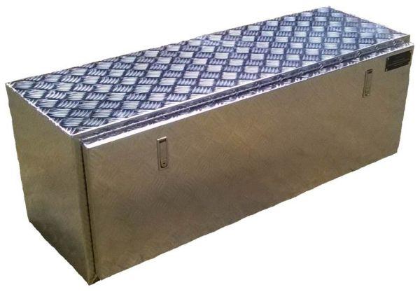 coffre aluminium rectangulaire 1220x430x450 mm sous chassis. Black Bedroom Furniture Sets. Home Design Ideas